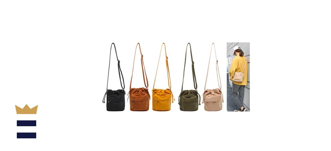 Jeelow Small Canvas Tote Crossbody Handbag