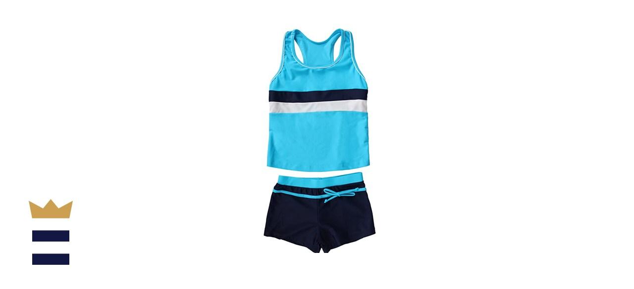 JerrisApparel Girls' Two-Piece Boyshort Tankini Swimsuit