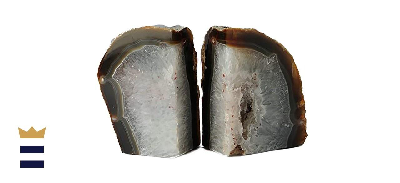 JIC Gem Polished Natural Agate Bookends