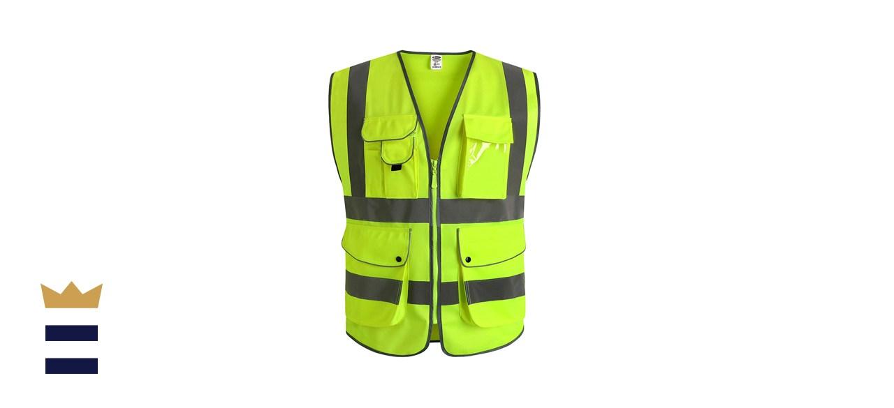 JKSafety 9 Pockets Class 2 High-Visibility Vest