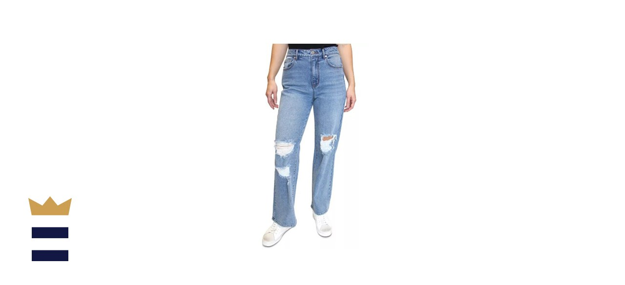 Almost Famous Juniors' Distressed Straight Leg Jeans