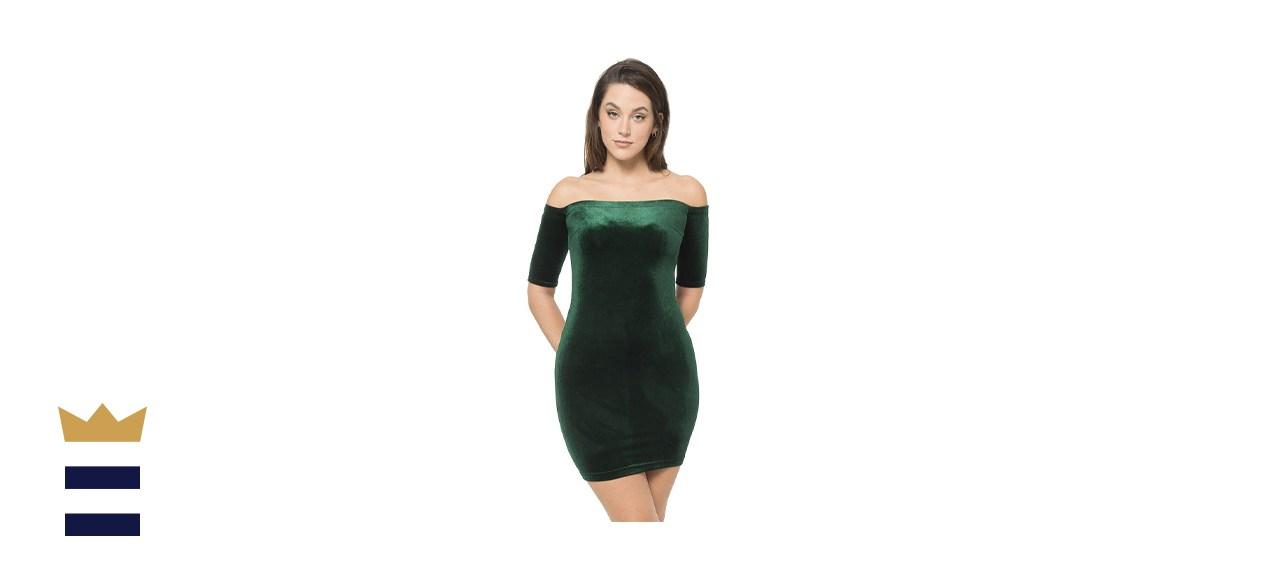 Juniors' B. Smart Off Shoulder Bodycon Velvet Dress