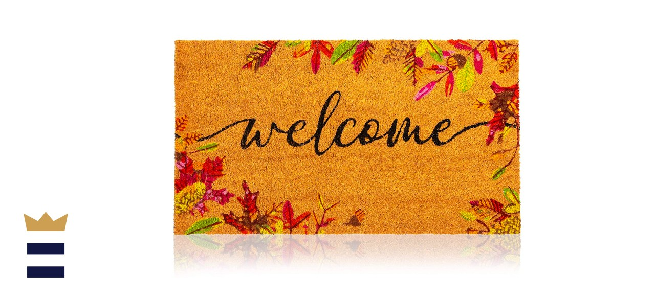 """Juvale Natural Coir Welcome Door Mat, Autumn Leaves 30"""" x 17"""""""