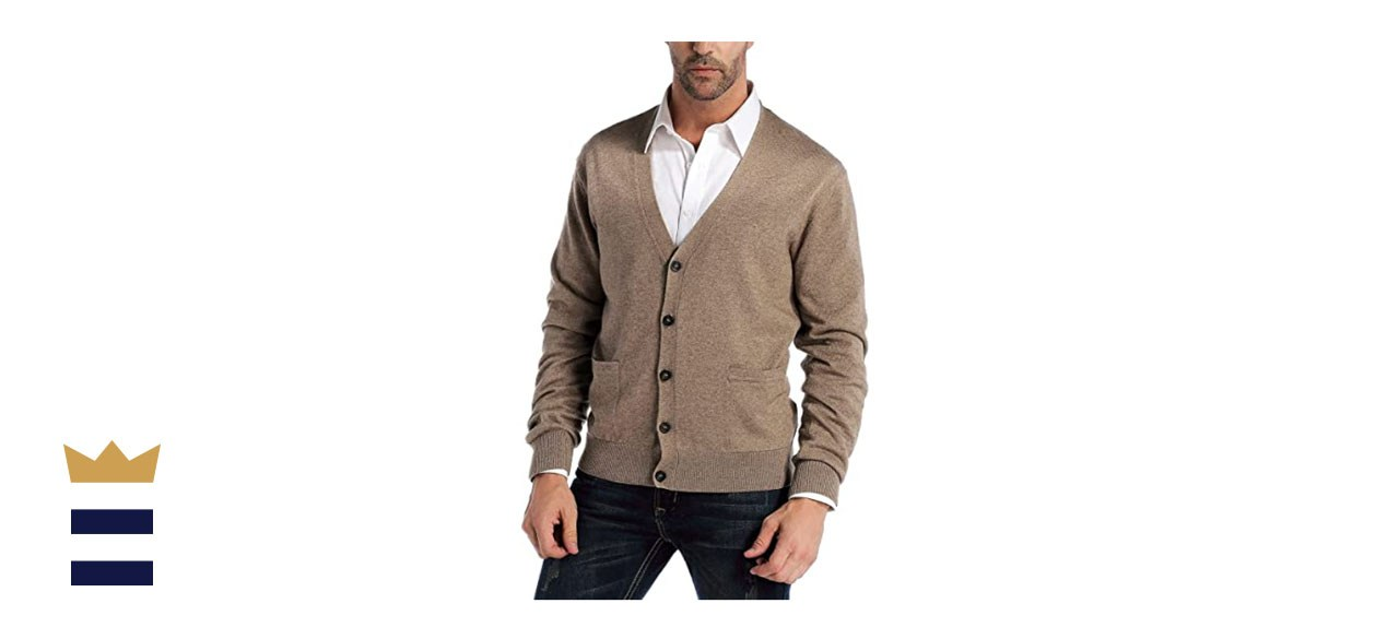 Kallspin Men's Cashmere Wool Blended Cardigan Sweater