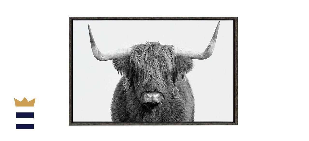Kate and Laurel Sylvie Highland Cow Framed Canvas Wall Art
