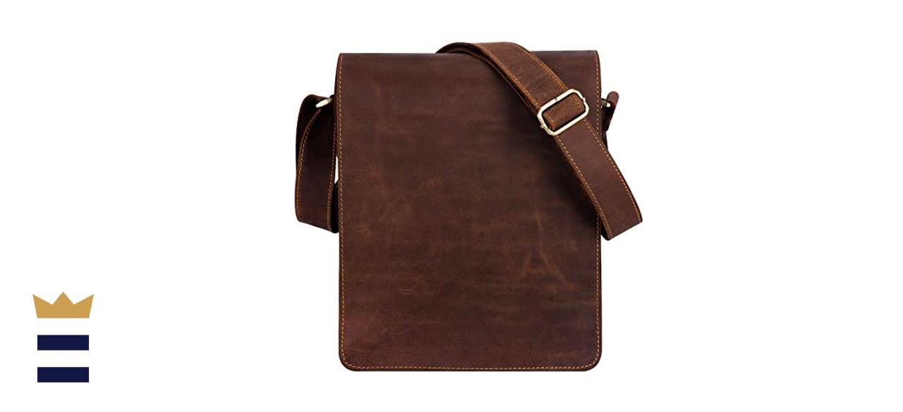 Kattee Vintage Leather Flapover Messenger Bag