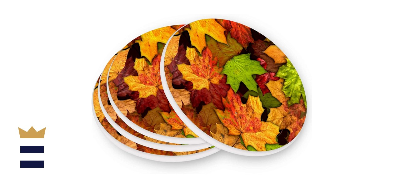 Kcldeci Autumn Maple Leaves Coasters for Drinks 4 Pieces Set
