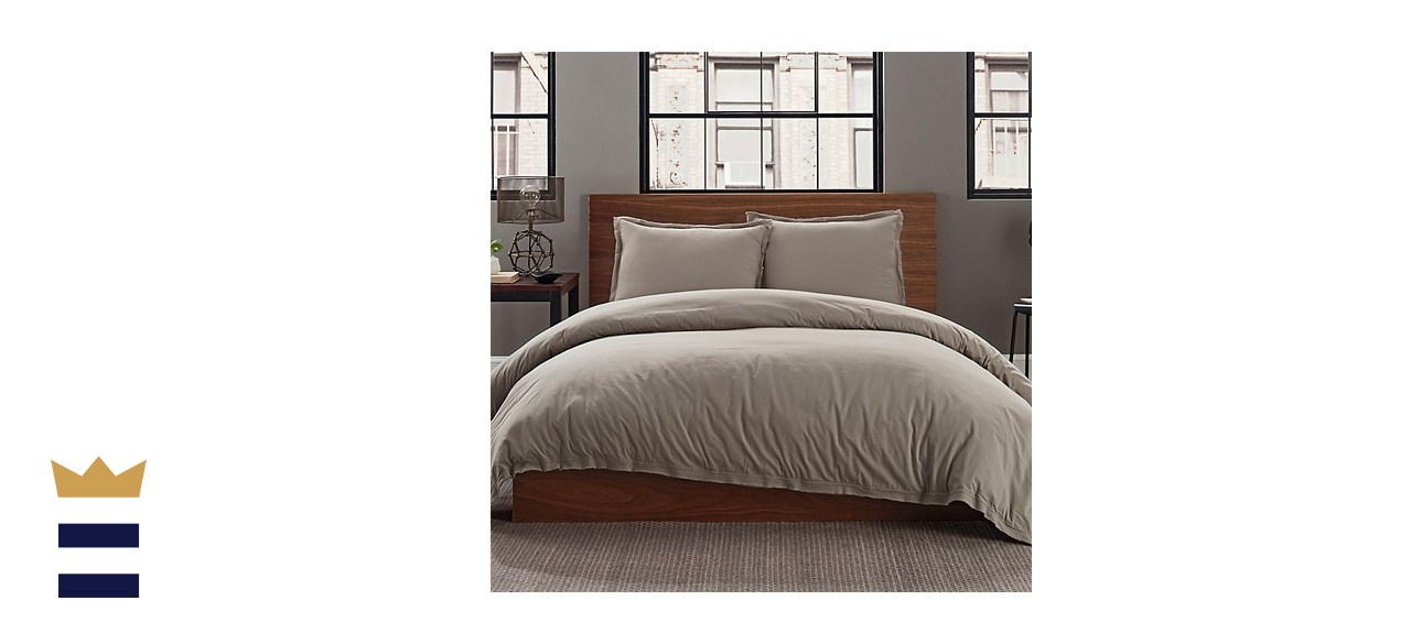 Keeco Garment Washed Solid 2-Piece Twin/Twin XL Duvet Cover Set