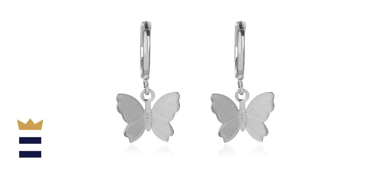 Kercisbeauty Dainty Silver Butterfly Earrings