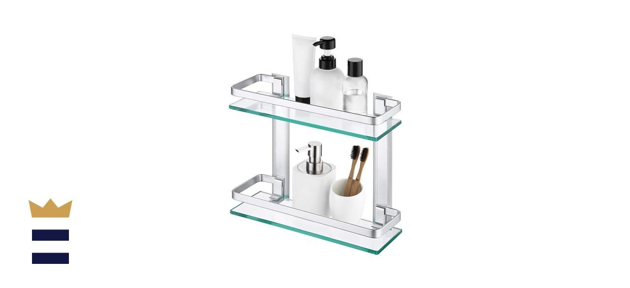 KES Aluminum 2 Tier Bathroom Glass Shelf