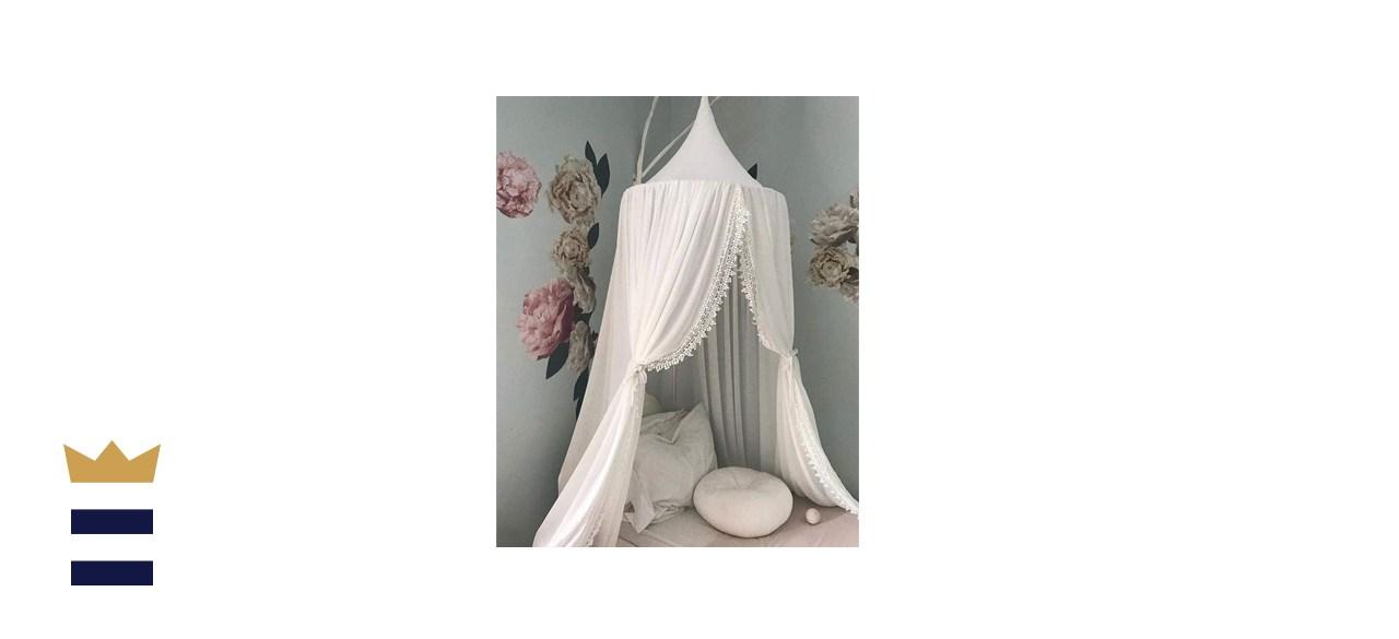 Kids Bed Canopy with Pom Pom Hanging Net
