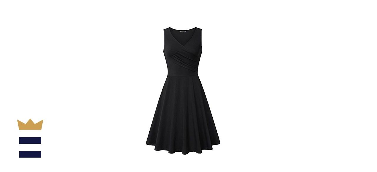 KILIG Women's Casual Dress V Neck A Line Cap Sleeveless Summer Wrap Midi Dress