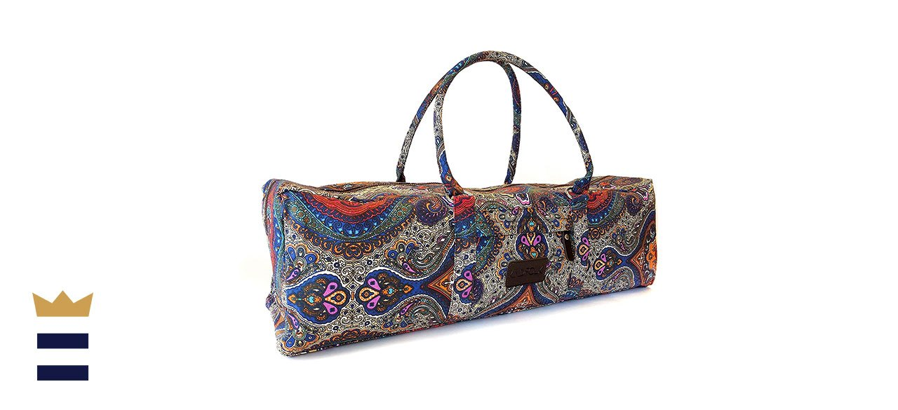 Kindfolk's Yoga Mat Duffel Bag Patterned Canvas with Pocket and Zipper