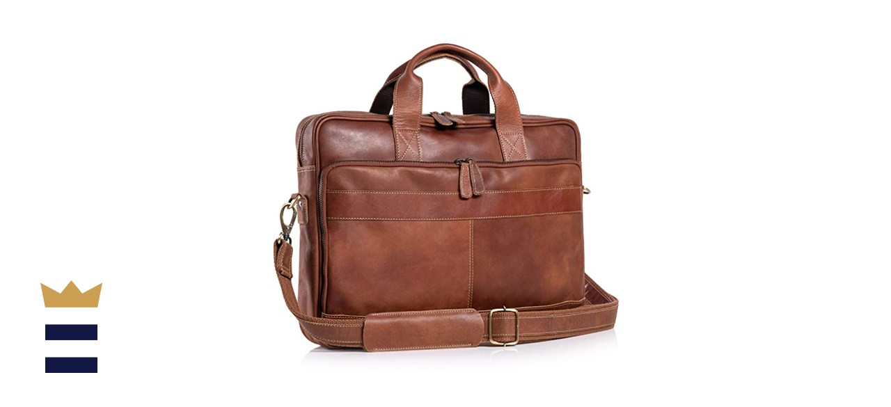 KomalC 16 Inch Leather Briefcase