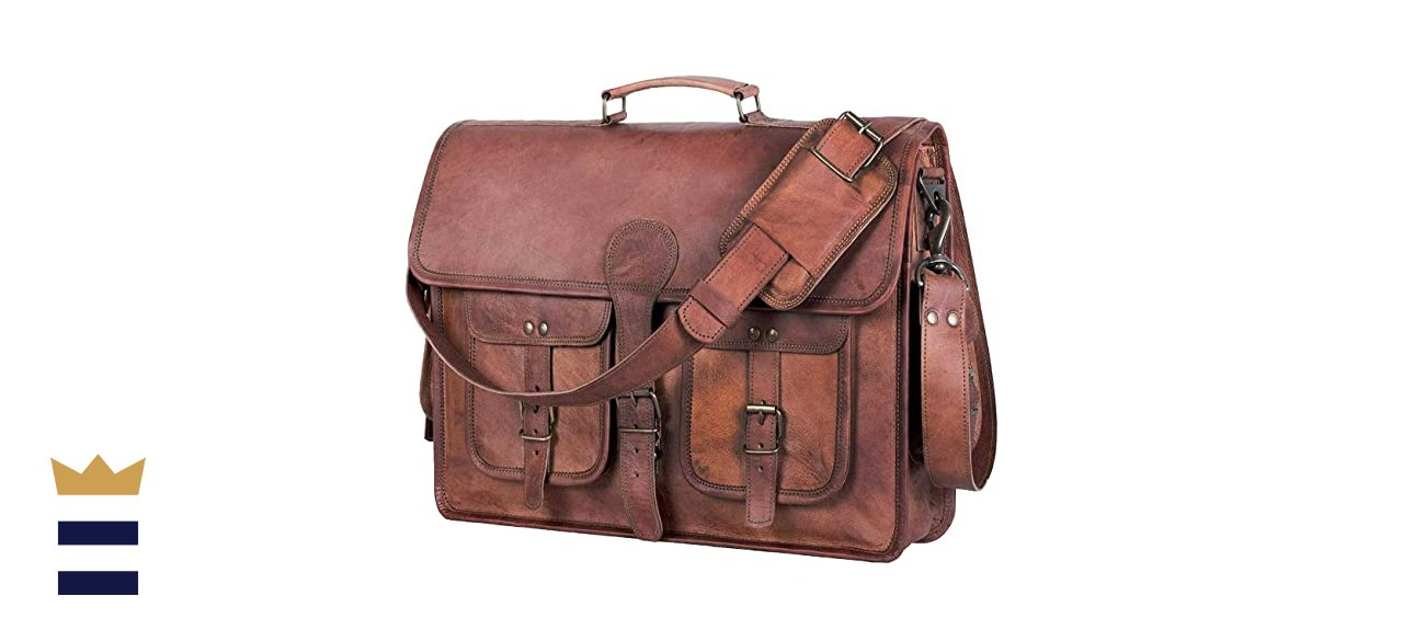 KPL Leather Briefcase Laptop Messenger bag