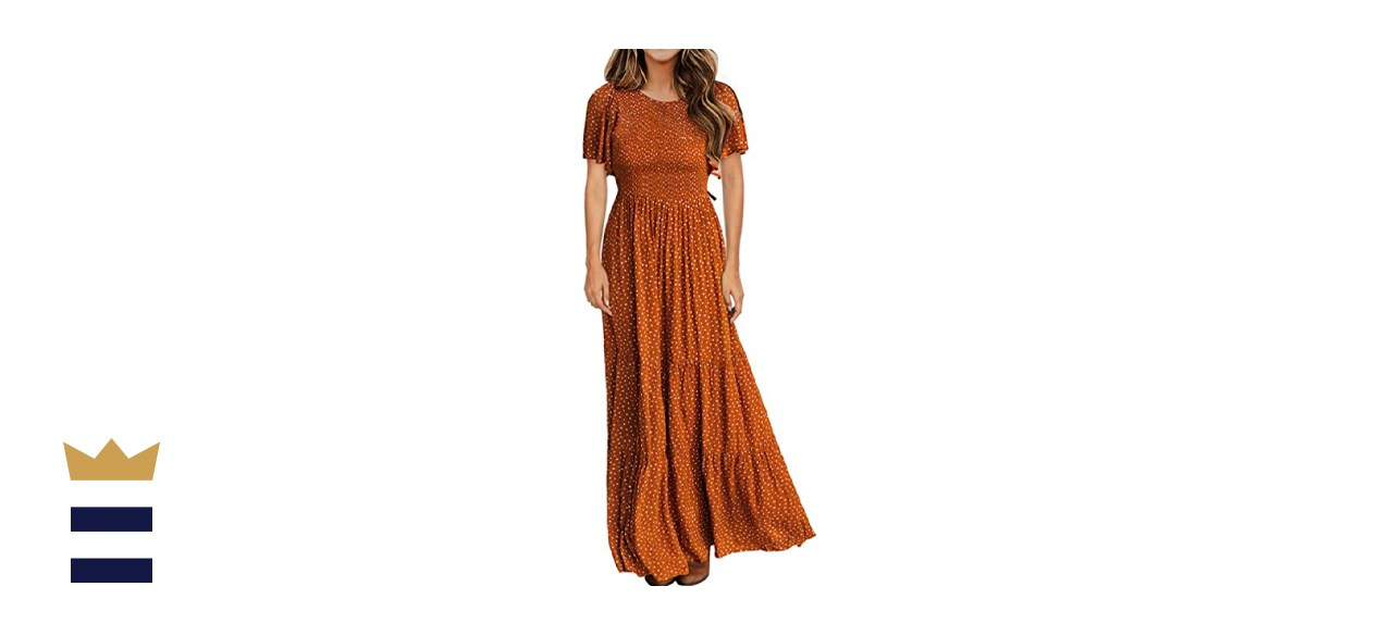Kranda Flutter Style Smocked Maxi Dress