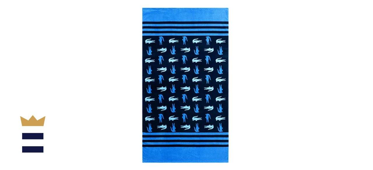 Lacoste Chroma Cotton Stripe Logo Beach Towel