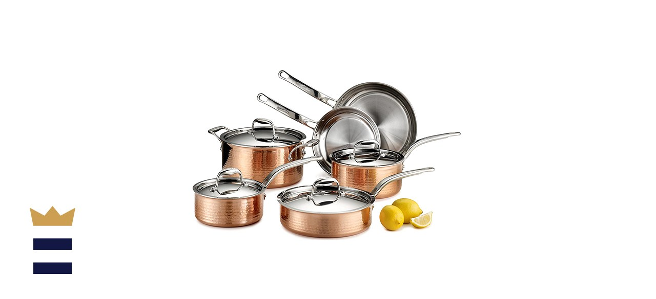 Lagostina Martellata Hammered Copper Cookware Set