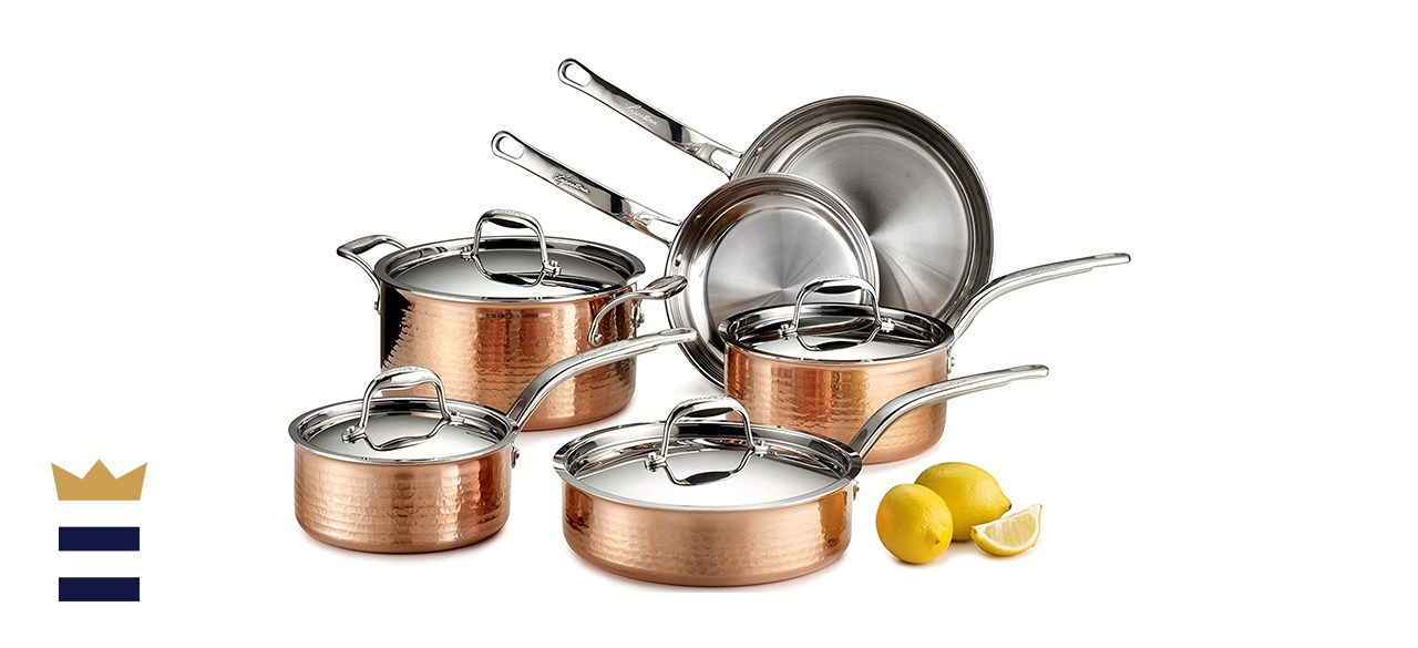 Lagostina Martellata Hammered Copper Stainless Steel Cookware Set