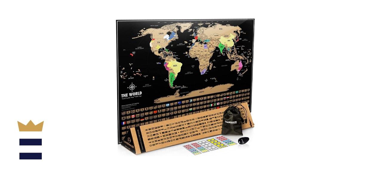 """Landmass Goods 17"""" x 21"""" Scratch-Off Map of the World"""
