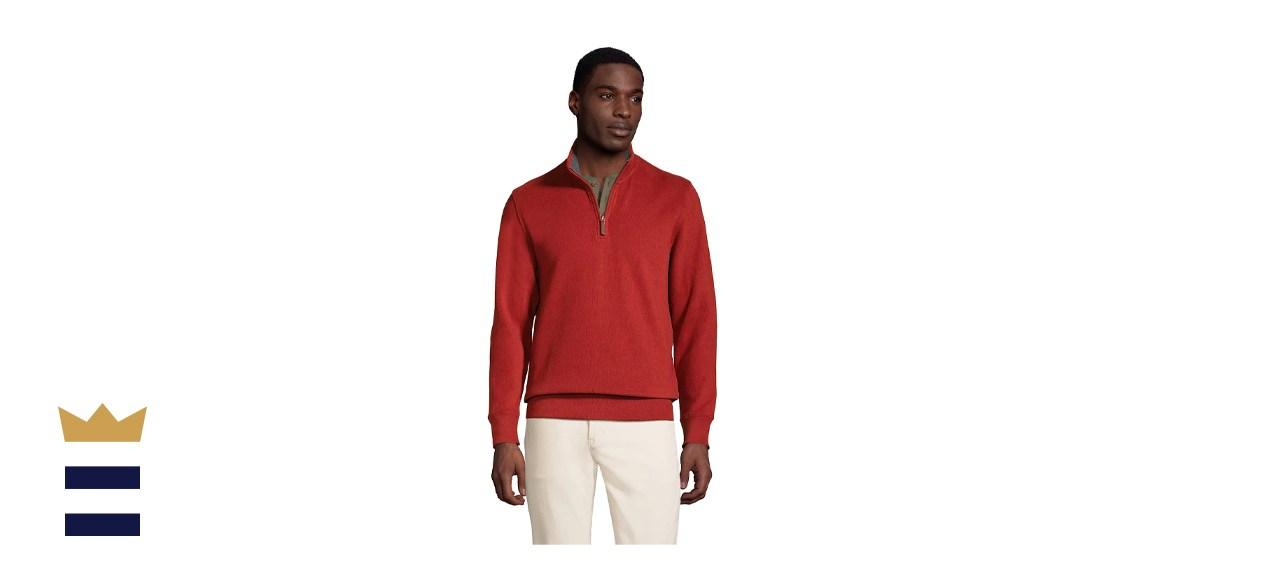 Lands' End Bedford Regular-Fit Ribbed Quarter-Zip Pullover Sweater