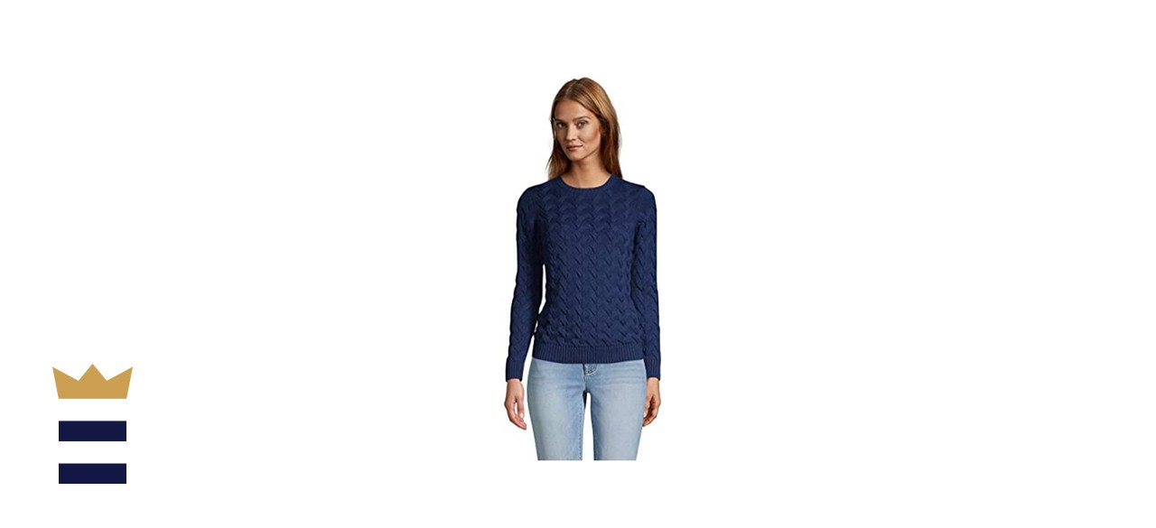 Lands' End Cotton Cable Drifter Crew-Neck Sweater