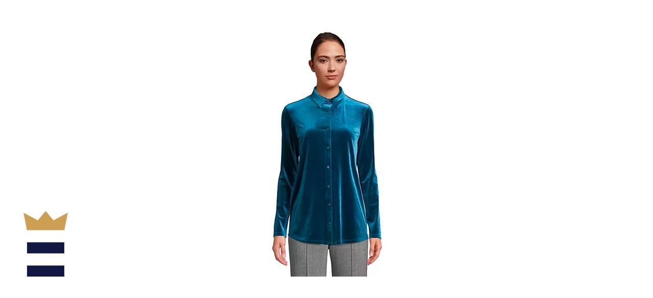 Lands' End Velvet Tunic Shirt