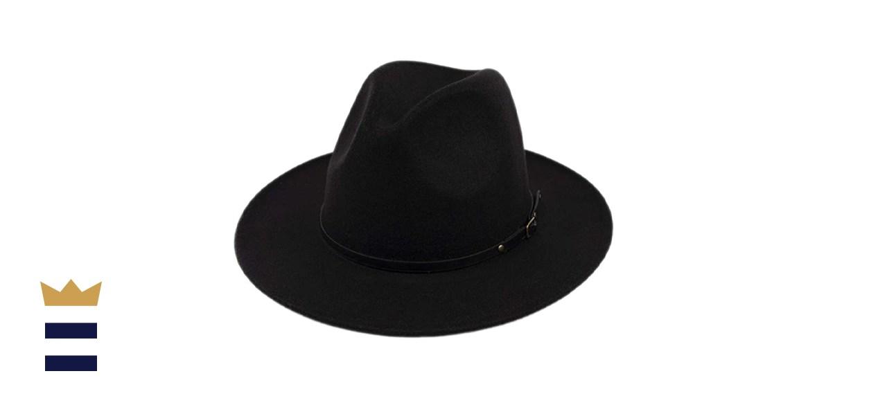 Lanzom Classic Wide Brim Wool Fedora Hat