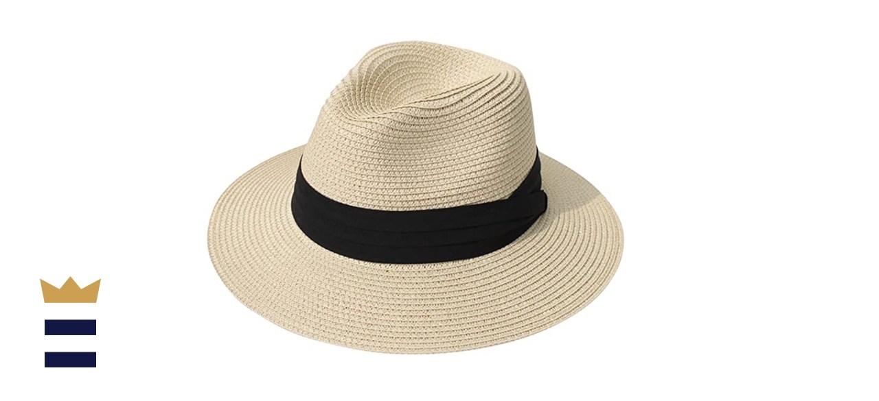 Lanzom Women's Wide Brim Straw Panama Hat