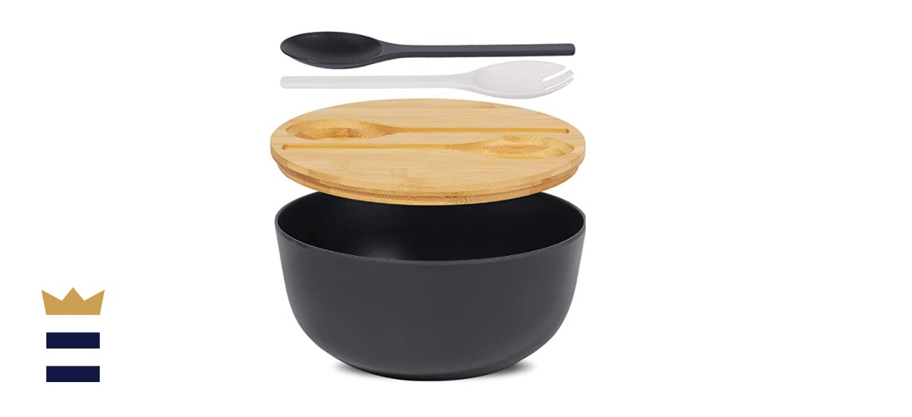 Large Bamboo Fiber Salad Serving Bowl with Lid and Tongs