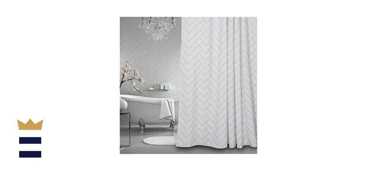 Latitude Run White And Grey Fabric Shower Curtain