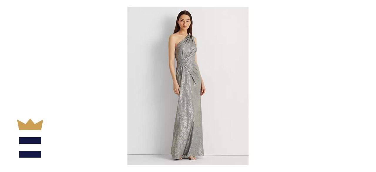Lauren Ralph Lauren Metallic One-Shoulder Gown