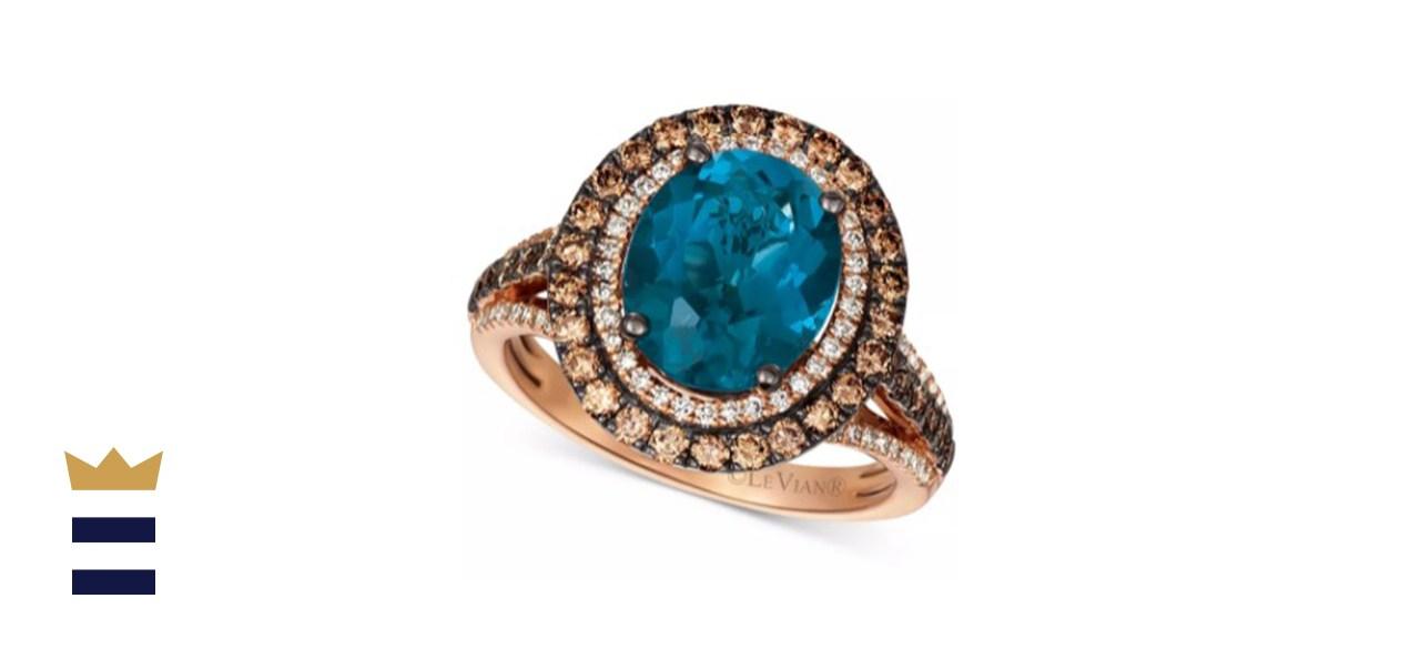 Le Vian Deep-Sea Blue Topaz & Diamond Statement Ring in 14k Rose Gold