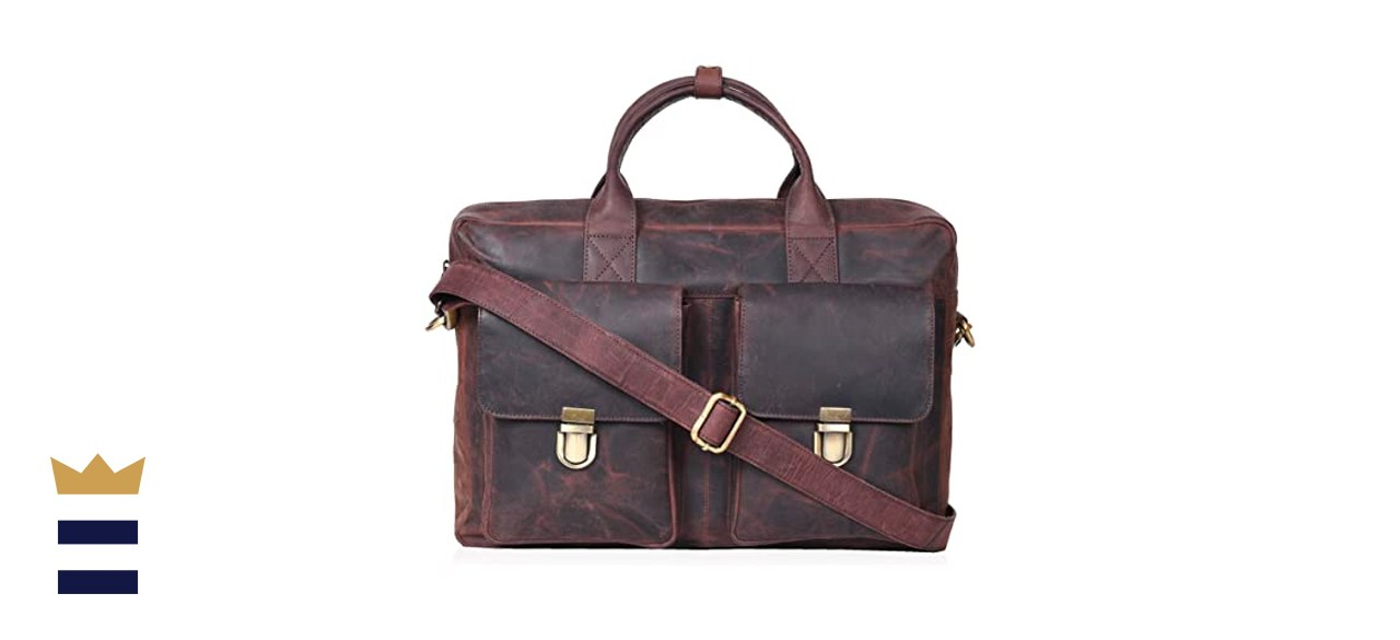 Leather Messenger Bag Locking Laptop Briefcase