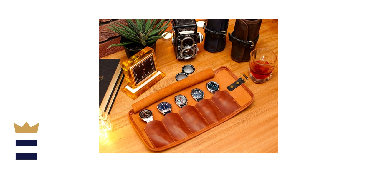Leather Watch Roll with Embossed Monogram