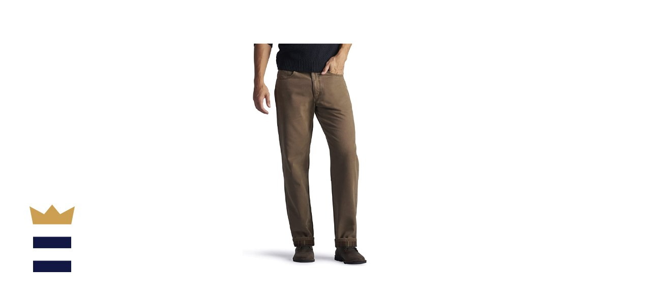 Lee Men's Flannel Lined Relaxed Fit Straight-Leg Jeans