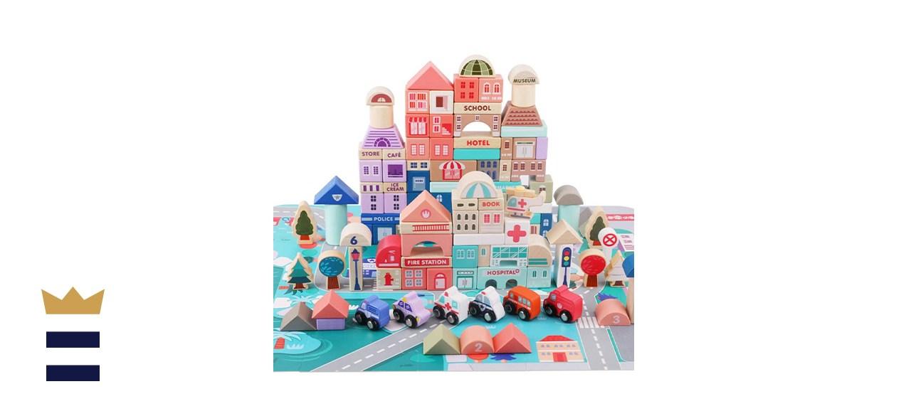 Lewo 115 Pieces Wooden Building Blocks with City Map Construction Building Set