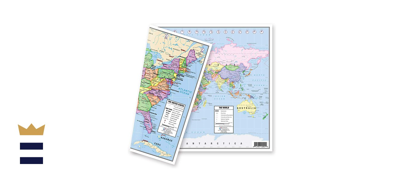 Lighthouse Geographics US and World Desk Map