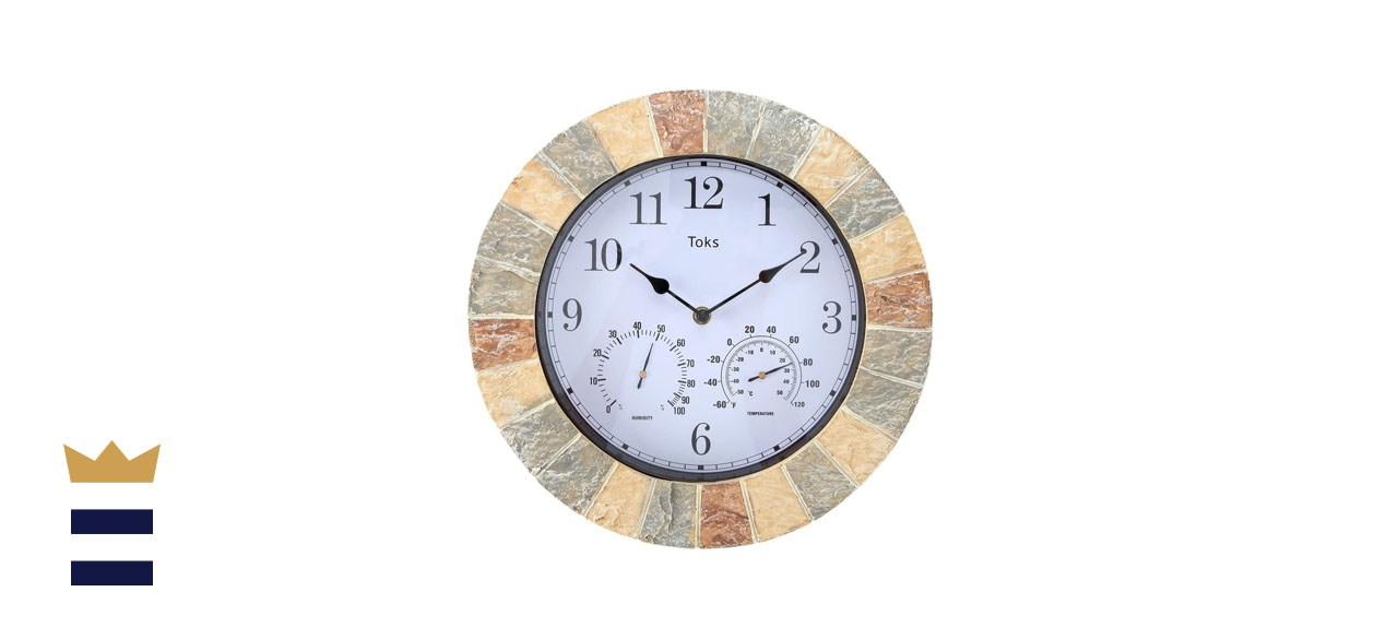 Lily's Home 14-Inch Faux Stone Indoor or Outdoor Wall Clock