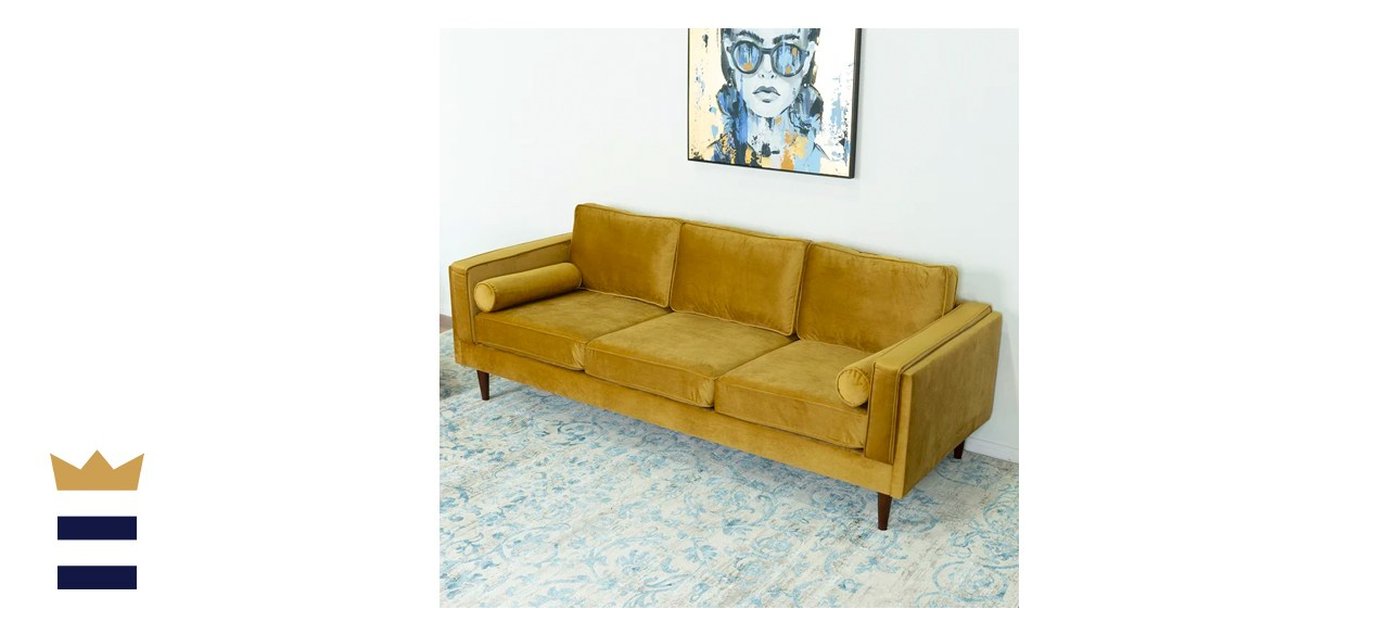 Lindel Velvet Square Arm Sofa with Reversible Cushions
