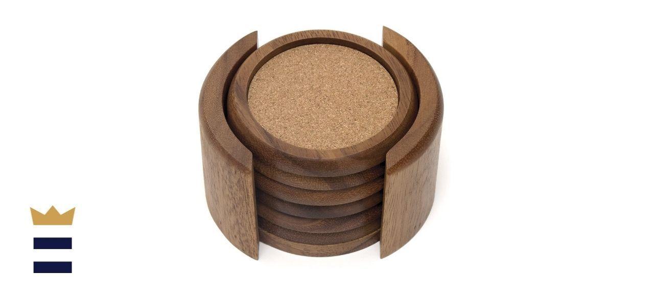 Lipper International Acacia Round with Cork Coasters