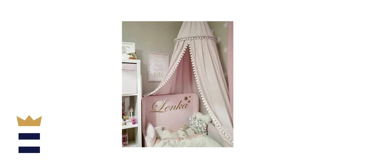 LOAOL Kids Bed Canopy with Pom Pom Hanging Crib Nook