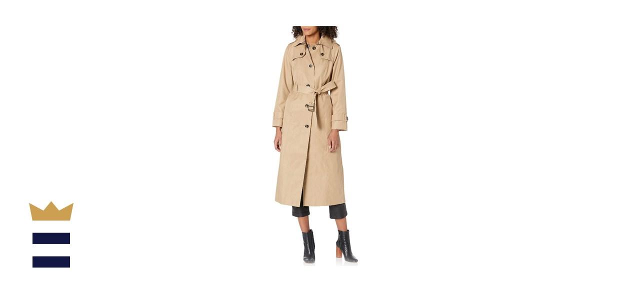 LONDON FOG Women's Single Breasted Long Trench Coat