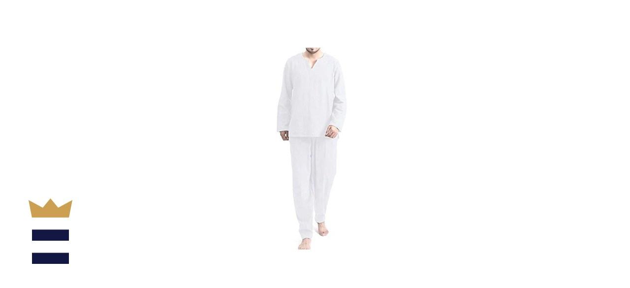 COOFANDY Men's 2 Pieces Cotton Linen Hippie T Shirt and Pants
