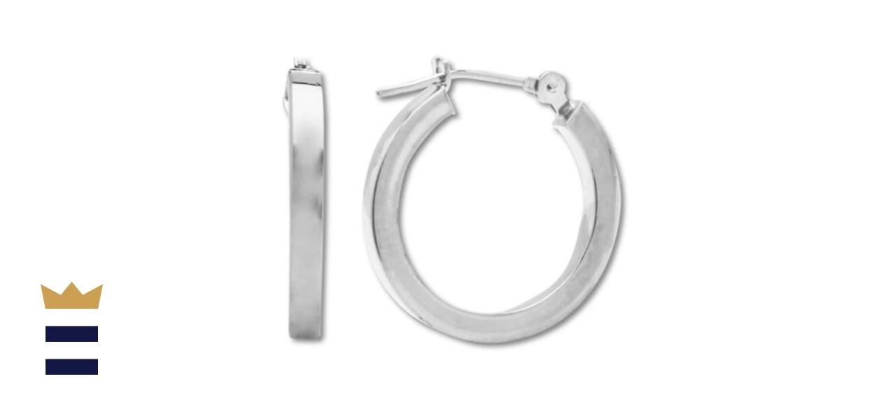 Macy's Polished Hoop Earrings in 14k White Gold