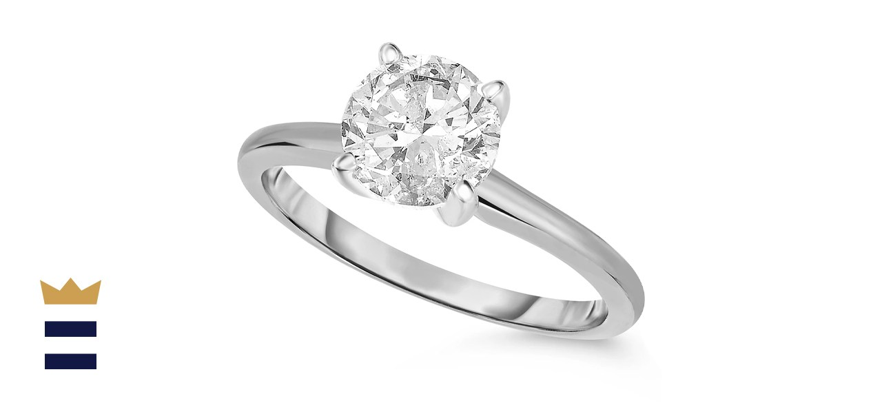 Macy's 14k Gold Round Cut 1 Carat Diamond Solitaire Engagement Ring