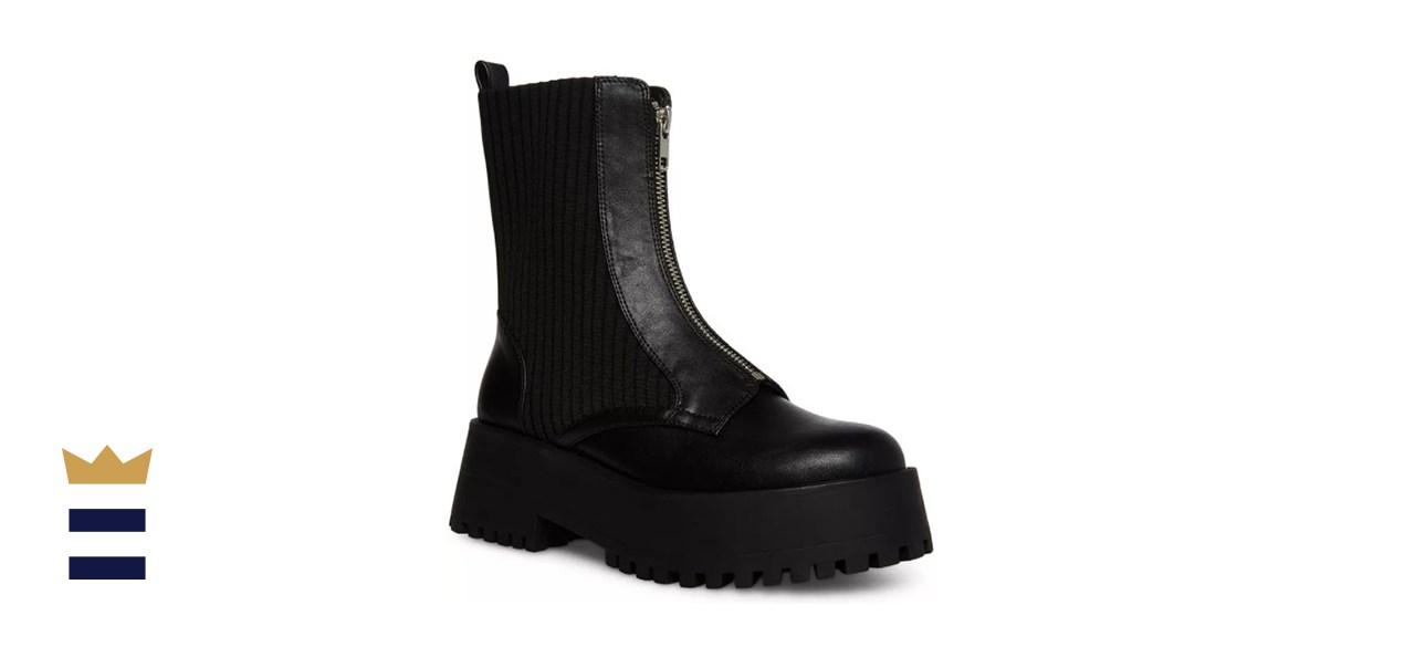 Madden Girl Skyler Zip-Front Knit Combat Boots