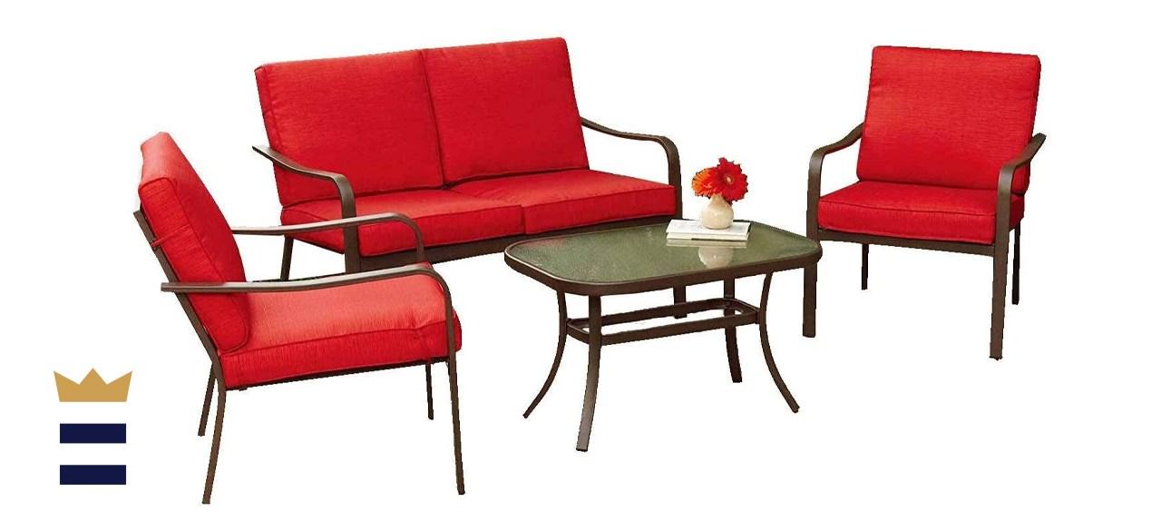 Mainstays Stanton Cushioned 4-Piece Patio Conversation Set
