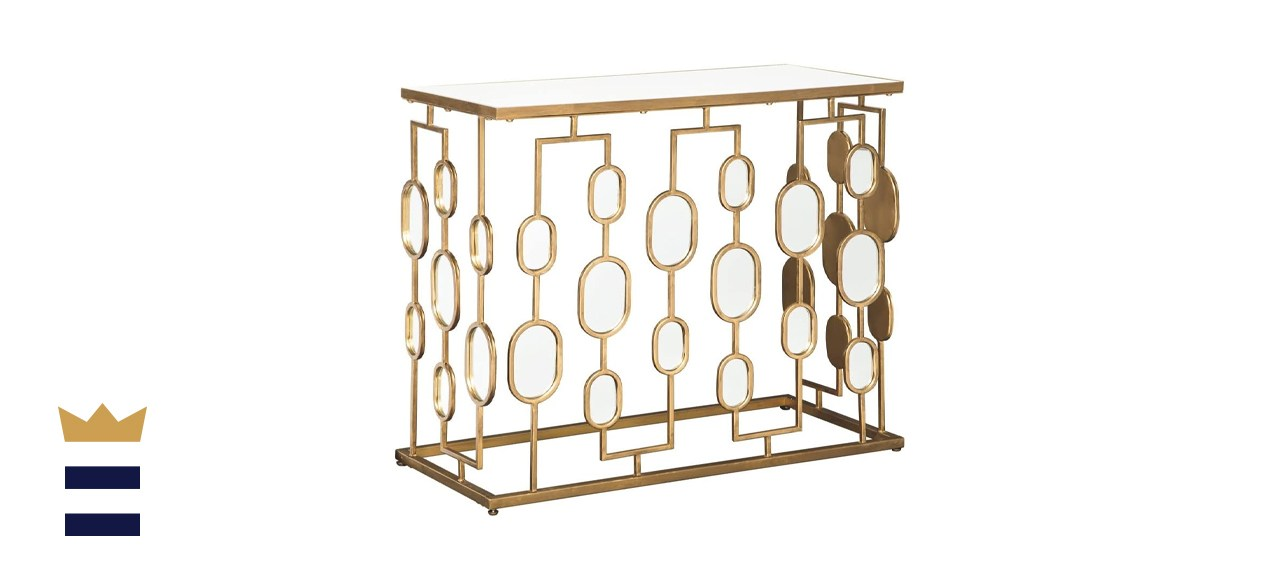 Majaci Console Table with Antique Gold Metal and Mirrored Accents