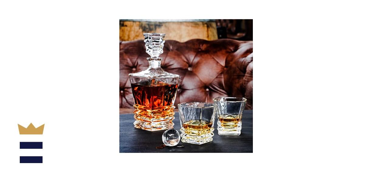 Maketh the Man Premium Art Deco Whiskey Decanter Set